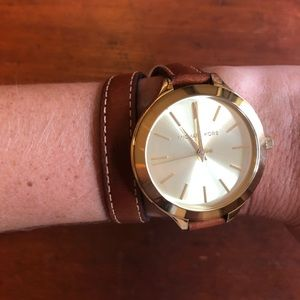 Michael Kors Leather Wrap Watch